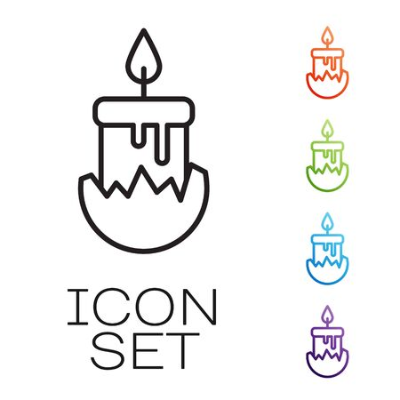 Black line Burning candle in candlestick icon isolated on white background. Cylindrical candle stick with burning flame. Set icons colorful. Vector Illustration Ilustrace