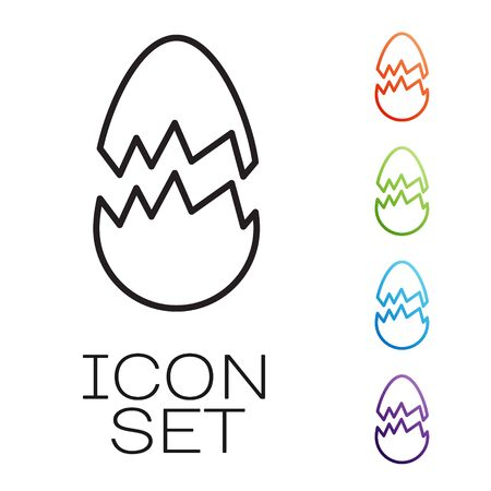 Black line Broken egg icon isolated on white background. Happy Easter. Set icons colorful. Vector