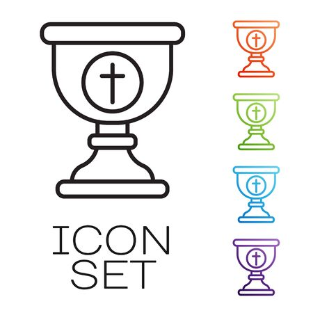 Black line Christian chalice icon isolated on white background. Christianity icon. Happy Easter. Set icons colorful. Vector