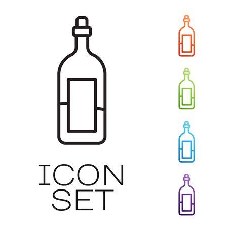 Black line Bottle of wine icon isolated on white background. Set icons colorful. Vector Ilustracja