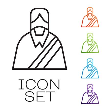 Black line Jesus Christ icon isolated on white background. Set icons colorful. Vector