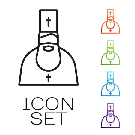 Black line Priest icon isolated on white background. Set icons colorful. Vector