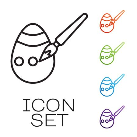 Black line Easter egg and paint brush icon isolated on white background. Happy Easter. Set icons colorful. Vector Ilustração