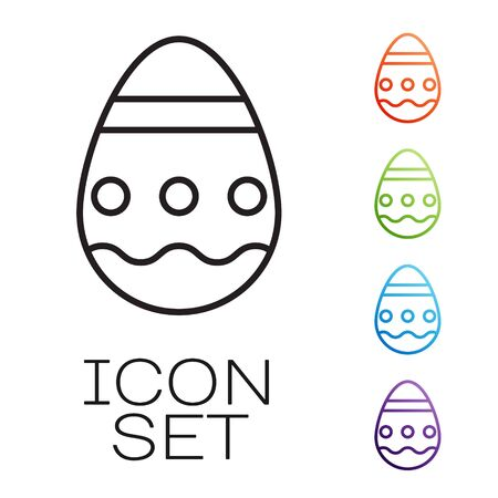 Black line Easter egg icon isolated on white background. Happy Easter. Set icons colorful. Vector Illustration