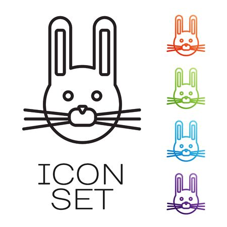 Black line Easter rabbit icon isolated on white background. Easter Bunny. Set icons colorful. Vector
