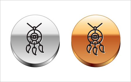 Black line Dream catcher with feathers icon isolated on white background. Silver-gold circle button. Vector