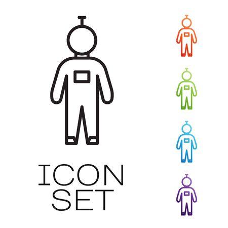 Black line Astronaut icon isolated on white background. Set icons colorful. Vector Illusztráció