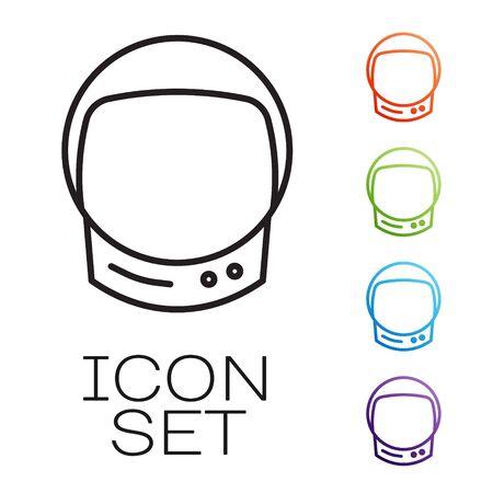 Black line Astronaut helmet icon isolated on white background. Set icons colorful. Vector Illusztráció