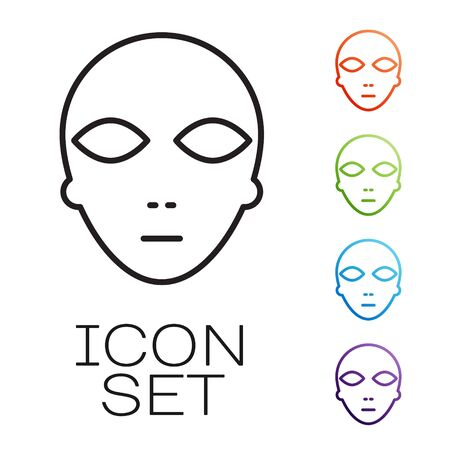 Black line Alien icon isolated on white background. Extraterrestrial alien face or head symbol. Set icons colorful. Vector Illustration