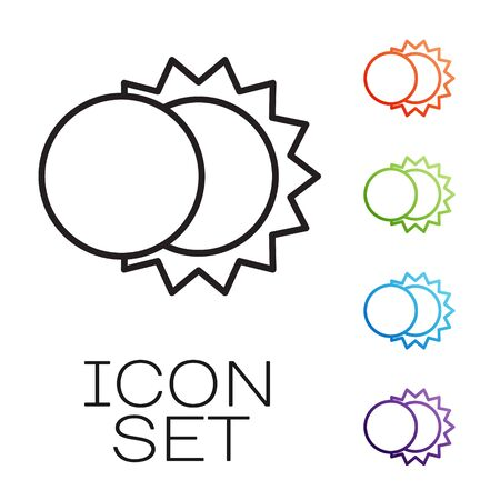 Black line Eclipse of the sun icon isolated on white background. Total sonar eclipse. Set icons colorful. Vector