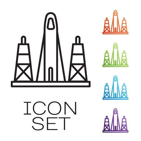 Black line Rocket launch from the spaceport icon isolated on white background. Launch rocket in space. Set icons colorful. Vector Çizim