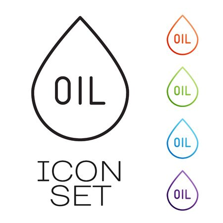 Black line Oil drop icon isolated on white background. Set icons colorful. Vector
