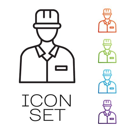 Black line Oilman icon isolated on white background. Set icons colorful. Vector