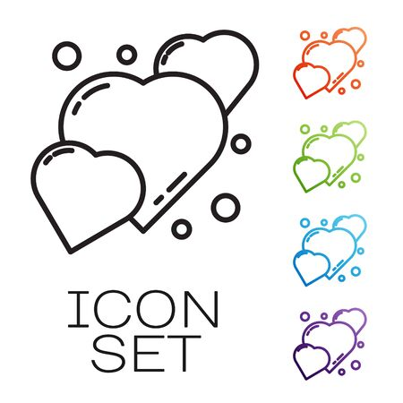 Black line Heart icon isolated on white background. Romantic symbol linked, join, passion and wedding. 8 March. Happy Women Day. Set icons colorful. Vector