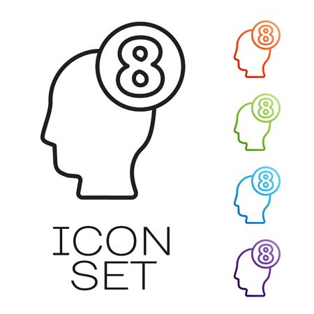 Black line 8 March in human head icon isolated on white background. International Happy Women Day. Set icons colorful. Vector