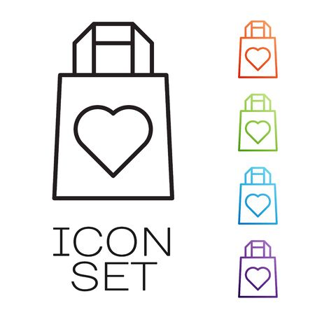 Black line Shopping bag with heart icon isolated on white background. 8 March. International Happy Women Day. Set icons colorful. Vector