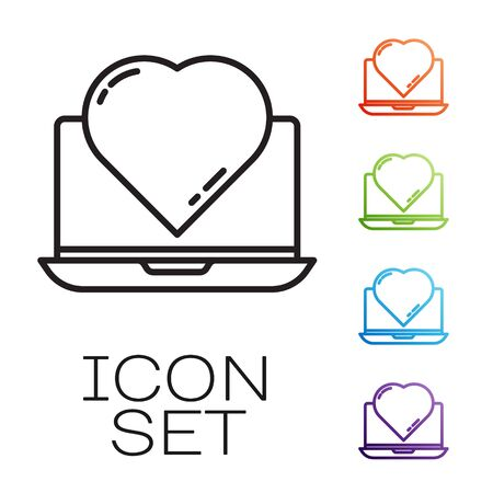 Black line Online dating app and chat icon isolated on white background. International Happy Women Day. Set icons colorful. Vector Vectores