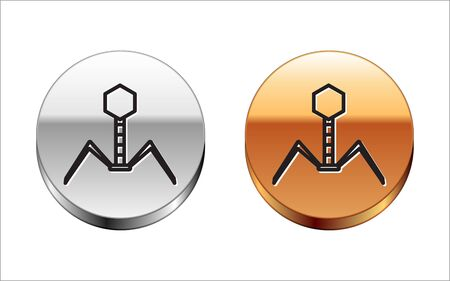 Black line Bacteria bacteriophage icon isolated on white background. Bacterial infection sign. Microscopic germ cause diseases concept. Silver-gold circle button. Vector