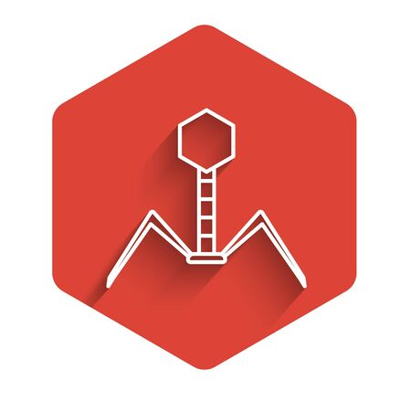White line Bacteria bacteriophage icon isolated with long shadow. Bacterial infection sign. Microscopic germ cause diseases concept. Red hexagon button. Vector