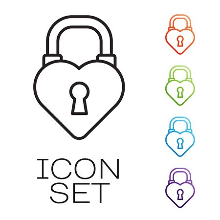 Black line Castle in the shape of a heart icon isolated on white background. Love symbol and keyhole sign. 8 March. Happy Women Day. Set icons colorful. Vector Illustration Vectores