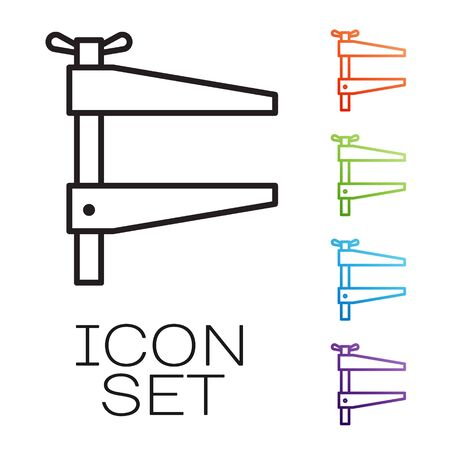 Black line Clamp tool icon isolated on white background. Locksmith tool. Set icons colorful. Vector Ilustração