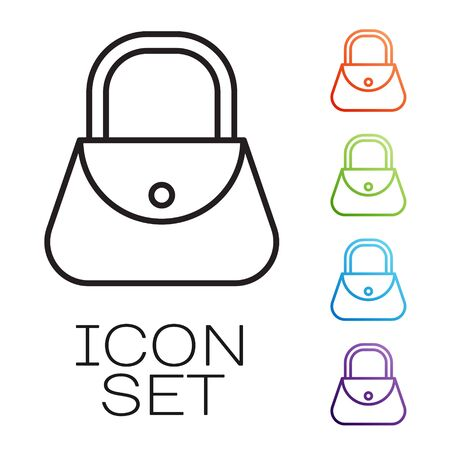 Black line Handbag icon isolated on white background. Female handbag sign. Glamour casual baggage symbol. Set icons colorful. Vector Vectores