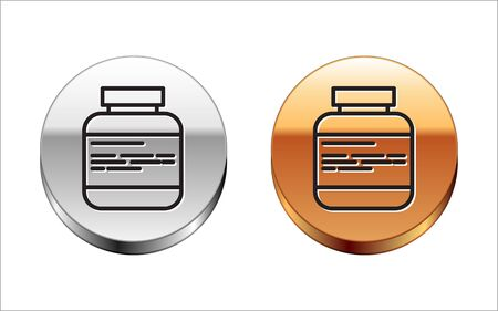 Black line Medicine bottle and pills icon isolated on white background. Medical drug package for tablet, vitamin, antibiotic, aspirin. Silver-gold circle button. Vector