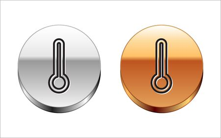 Black line Medical thermometer for medical examination icon isolated on white background. Silver-gold circle button. Vector