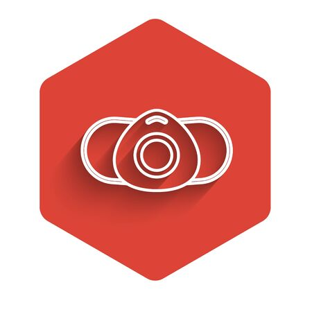 White line Medical protective mask icon isolated with long shadow. Red hexagon button. Vector Illustration