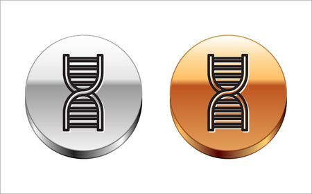 Black line DNA symbol icon isolated on white background. Silver-gold circle button. Vector