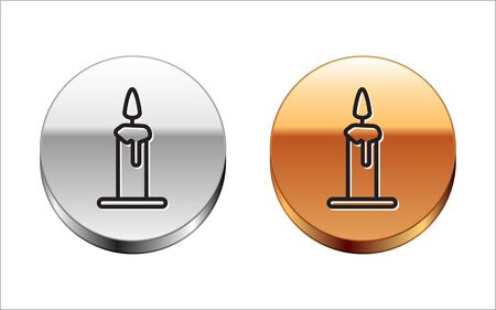Black line Burning candle in candlestick icon isolated on white background. Cylindrical candle stick with burning flame. Silver-gold circle button. Vector Ilustrace