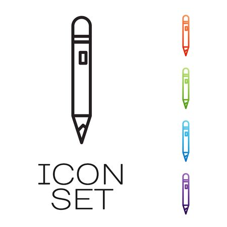 Black line Pencil with eraser icon isolated on white background. Drawing and educational tools. School office symbol. Set icons colorful. Vector Illustration