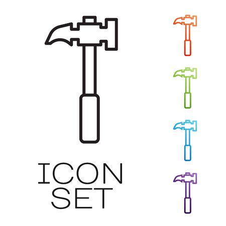 Black line Claw hammer icon isolated on white background. Carpenter hammer. Tool for repair. Set icons colorful. Vector