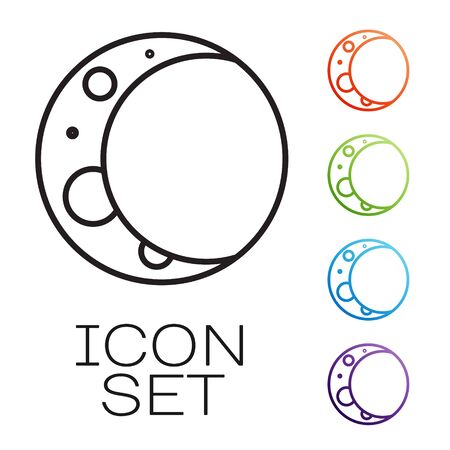 Black line Moon icon isolated on white background. Set icons colorful. Vector