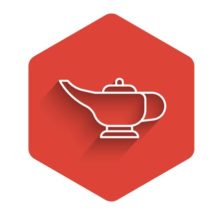 White line Magic lamp or Aladdin lamp icon isolated with long shadow. Spiritual lamp for wish. Red hexagon button. Vector Ilustrace