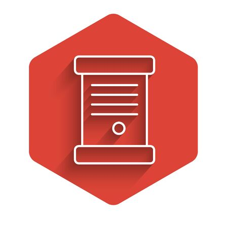 White line Decree, paper, parchment, scroll icon icon isolated with long shadow. Red hexagon button. Vector