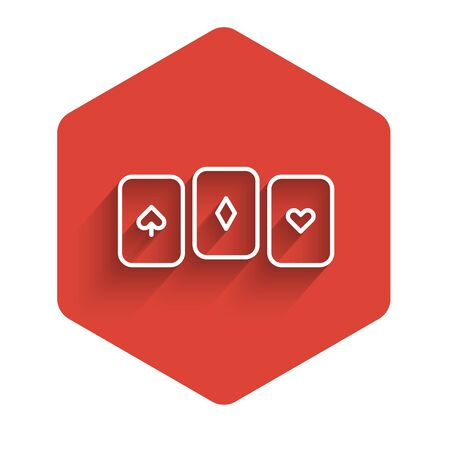 White line Playing cards icon isolated with long shadow. Casino gambling. Red hexagon button. Vector Illustration