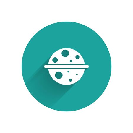 White Planet Saturn with planetary ring system icon isolated with long shadow. Green circle button. Vector Ilustrace
