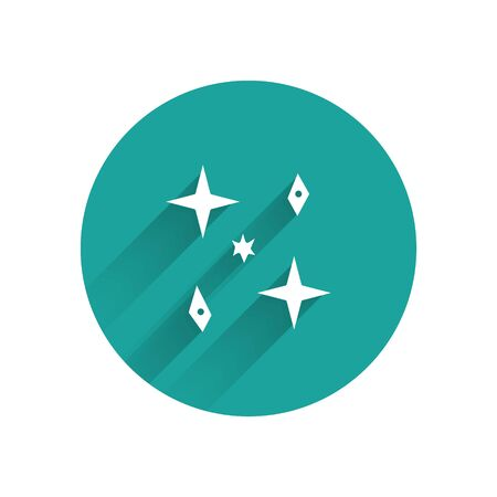 White Falling stars icon isolated with long shadow. Meteoroid, meteorite, comet, asteroid, star icon. Green circle button. Vector