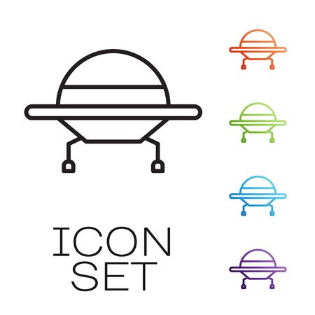 Black line UFO flying spaceship icon isolated on white background. Flying saucer. Alien space ship. Futuristic unknown flying object. Set icons colorful. Vector Vectores