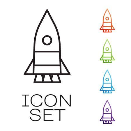 Black line Rocket ship icon isolated on white background. Space travel. Set icons colorful. Vector Illusztráció
