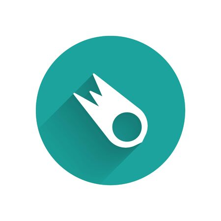 White Comet falling down fast icon isolated with long shadow. Green circle button. Vector Illusztráció