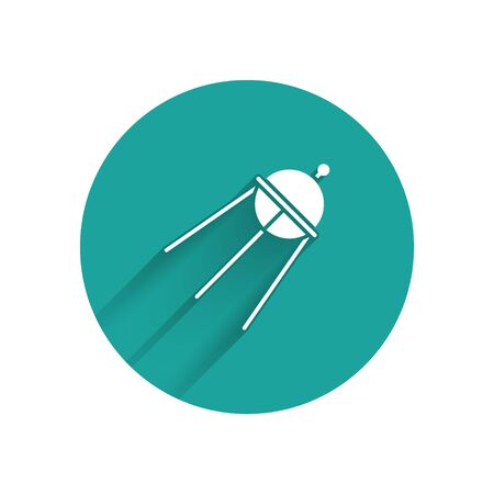 White Satellite icon isolated with long shadow. Green circle button. Vector