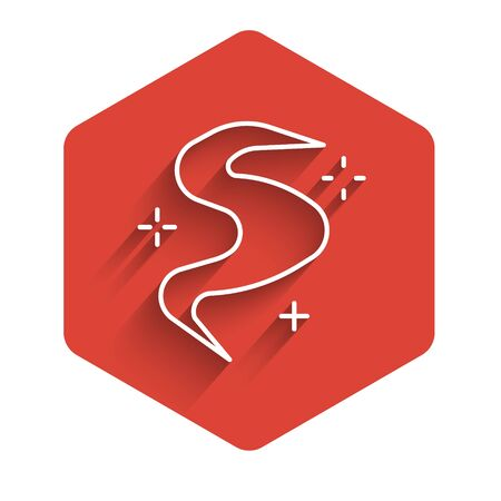 White line Magic fog or smoke icon isolated with long shadow. Red hexagon button. Vector