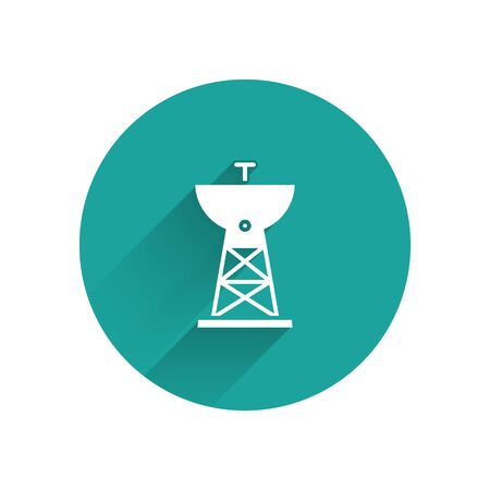White Satellite dish icon isolated with long shadow. Radio antenna, astronomy and space research. Green circle button. Vector Иллюстрация