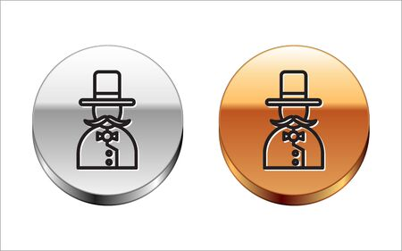 Black line Magician icon isolated on white background. Silver-gold circle button. Vector 일러스트