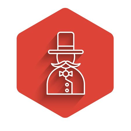 White line Magician icon isolated with long shadow. Red hexagon button. Vector