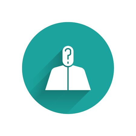 White Anonymous man with question mark icon isolated with long shadow. Unknown user, incognito profile, business secrecy, obscurity. Green circle button. Vector Illustration Иллюстрация