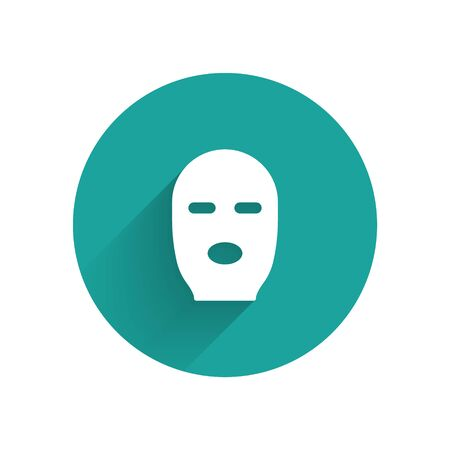 White Thief mask icon isolated with long shadow. Bandit mask, criminal man. Green circle button. Vector Illustration