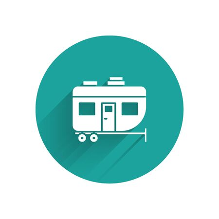 White Rv Camping trailer icon isolated with long shadow. Travel mobile home, caravan, home camper for travel. Green circle button. Vector Illustration
